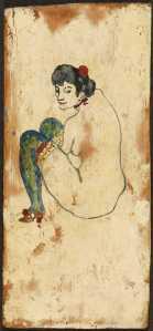 Dona amb mitges verdes, c.  1902, Pablo Ruiz Picasso. Oli sobre fusta, 27,2 x 12,5 cm. Donatiu de l'artista, 1970. MPB 110.036 Fons Museu Picasso Barcelona Fotografia: Gasull  VEGAP Madrid.