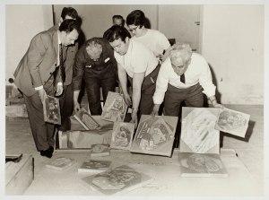 Arribada al Museu Picasso de la sèrie de Las Meninas 1968 Fons documental del Museu Picasso, Barcelona Fotografia de Pérez de Rozas
