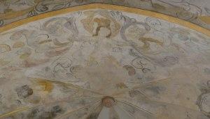 Detall de les pintures de l'absis central amb la figura femenina.