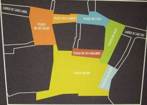 Mapa de Granollers amb la situació de les places.