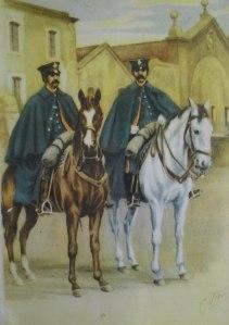 Dibuix de guàrdia muntada amb uniforme de diari d'hivern. Any 1864.