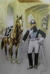 Primer uniforme de gala de la secció muntada. Any 1856.