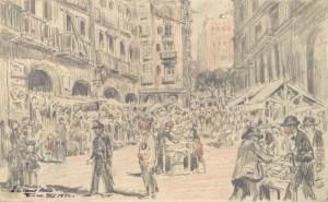 Encants Vells al carrer Consolat. 1892. Pau Febrés Yll. (AHCB).