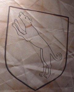 L'escut d'Otger Cataló amb el llebrer.