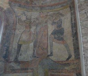 Pintures a l'absis lateral. Crucifixió de Sant Pere