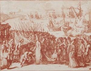Gravat de l'arribada d'Elisabet Cristina a Mataró.