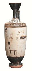 Lecit àtic amb una escena de preparatius funebres al gineceu. Pintor d'Atenes.