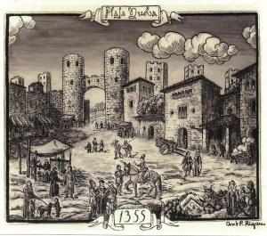 La plaça Nova l'any 1355. Rigau. Arxiu AFPN.