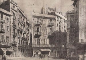 La plaça Nova entre els carrers del Bou i la Corríbia. 1842. Arxiu AFPN.