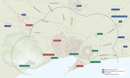 Mapa de Barcelona amb la ciutadella i els pobles del pla. Autor: Ròmul Brotons.