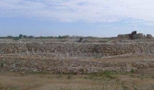 Part de la muralla, camp frisó i, en primer terme, el fossat.