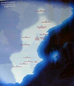 Mapa de localització dels jaciments d'art rupestre llevantí.