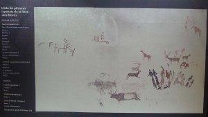Plafo de l'exposició amb la reproducció de les pintures.