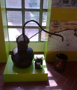 Alambí i pot amb mostra de brisa a l'exposició permanent.