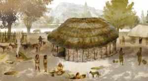 Reconstrucció hipotètica de la cabana de Reina Amàlia 31. Il•lustració: A. Álvarez. MUHBA
