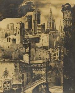 Pere Català Pic - Fotomuntatge sobre el Barri Gòtic per a la Sociedad de Atracción de Forasteros de Barcelona , 1935. Arxiu Fotogràfic de Barcelona.