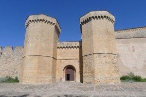 La Porta Reial i, a l'esquerra, part de la muralla del segle XIV.