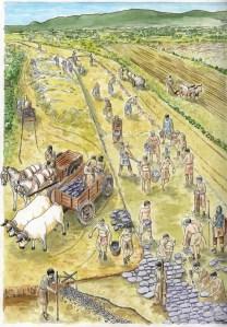 Representació de la construcció de la via romana de Collsuspina. Arxiu Camp de les Lloses.